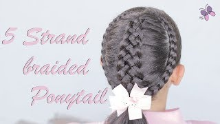 5 Strand Braided Ponytail | Braided Hairstyles | Hairstyles for Short and Long hair