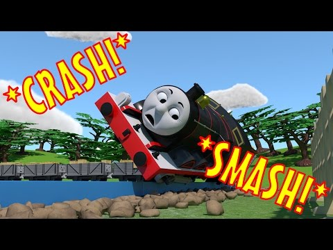 TOMICA Thomas and Friends Slow Motion Crashes: James CRASHES into a Field!