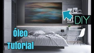 Como pintar un Cuadro Abstracto Azul al óleo / Arte Con Diego
