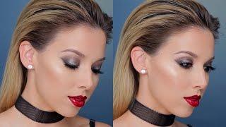 Silver Smokey Eye + Red Lip Makeup | LUSTRELUX