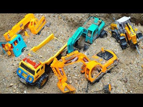 Thunderstorm Filled Bridge Block Toys | Excavator Crane Truck Dump Truck Rescue Cars Toys for Kids