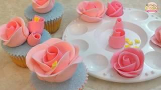 Mini Rosas de fondant (sin cortadores) / Hornea y Decora