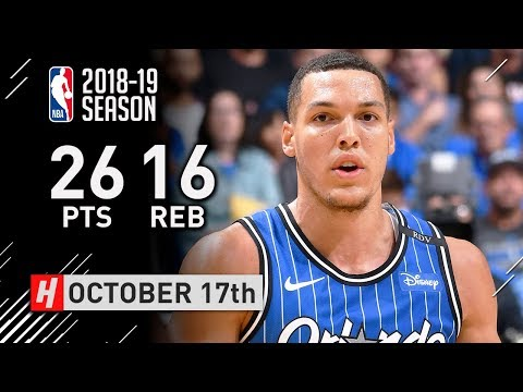 Aaron Gordon Full Highlights Magic vs Heat 2018.10.17 - 26 Pts, 16 Reb, BEAST!