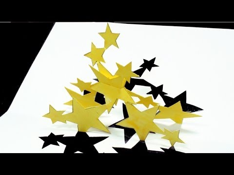 How to make Stars Pop Up Card FREE Template - (Kirigami 3D