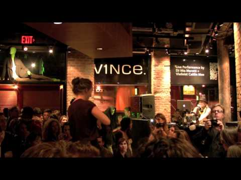 DJ Mia Moretti and Violinist Caitlin Moe rock out at VINCE's Fashion Night Out 2010 Party