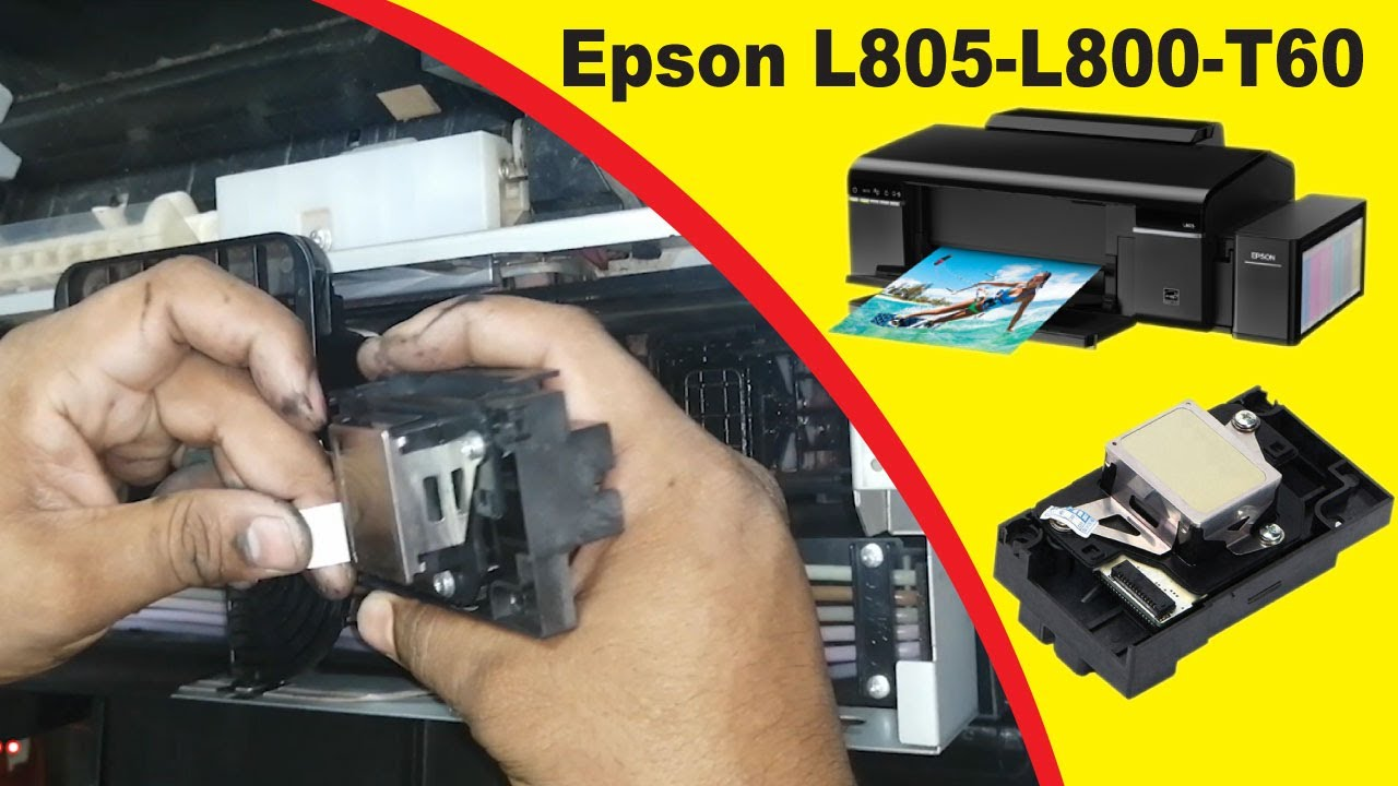 Printhead Replace And Install Epson L805 Epson L800 Epson T60 Printhead Replace Youtube