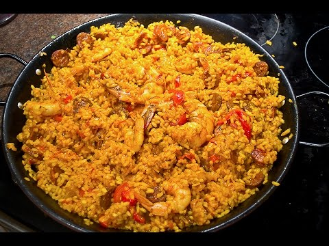 recette riz aux poulet et poivrons fa ons paella avec chorizzo youtube. Black Bedroom Furniture Sets. Home Design Ideas
