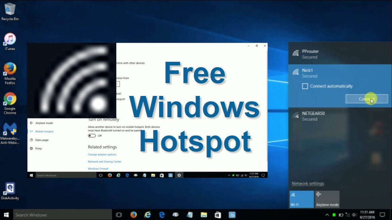 how to setup wifi hotspot windows 10