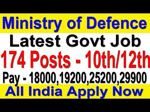 Latest Govt Job 10th Pass | Ministry of Defence 174 Posts | All India #Defence Job