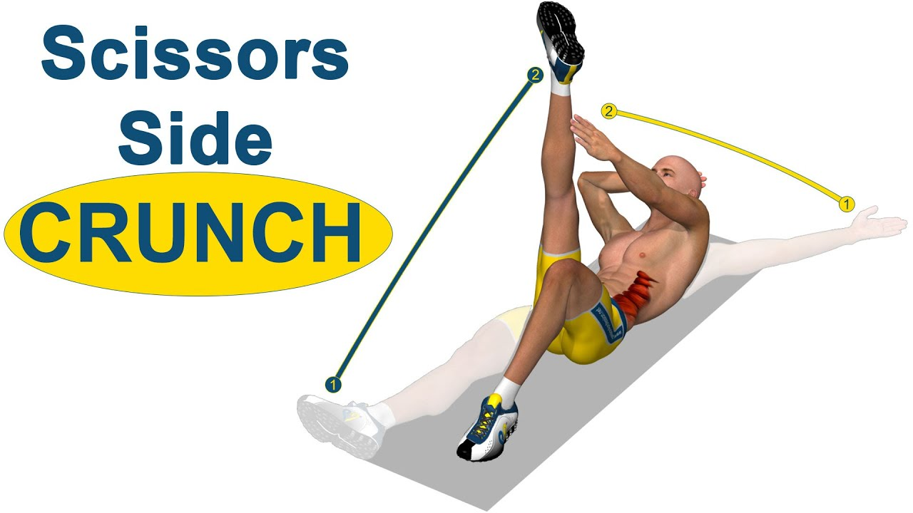 Oblique Abs: Scissors Side Crunch - YouTube