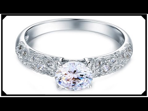 Vintage Synthetic Diamond Ring Engagement Best Price Silver 925 Jewelry With Gold Plated