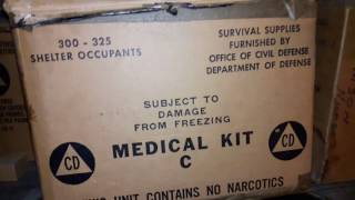 Underground bombshelter with civil defense rations and supplies still stocked. Cold war era