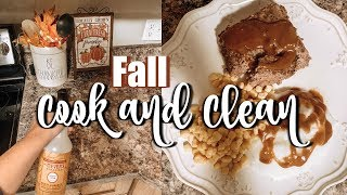 COOK AND CLEAN WITH ME! | COZY FALL DINNER | NIGHTTIME CLEANING ROUTINE