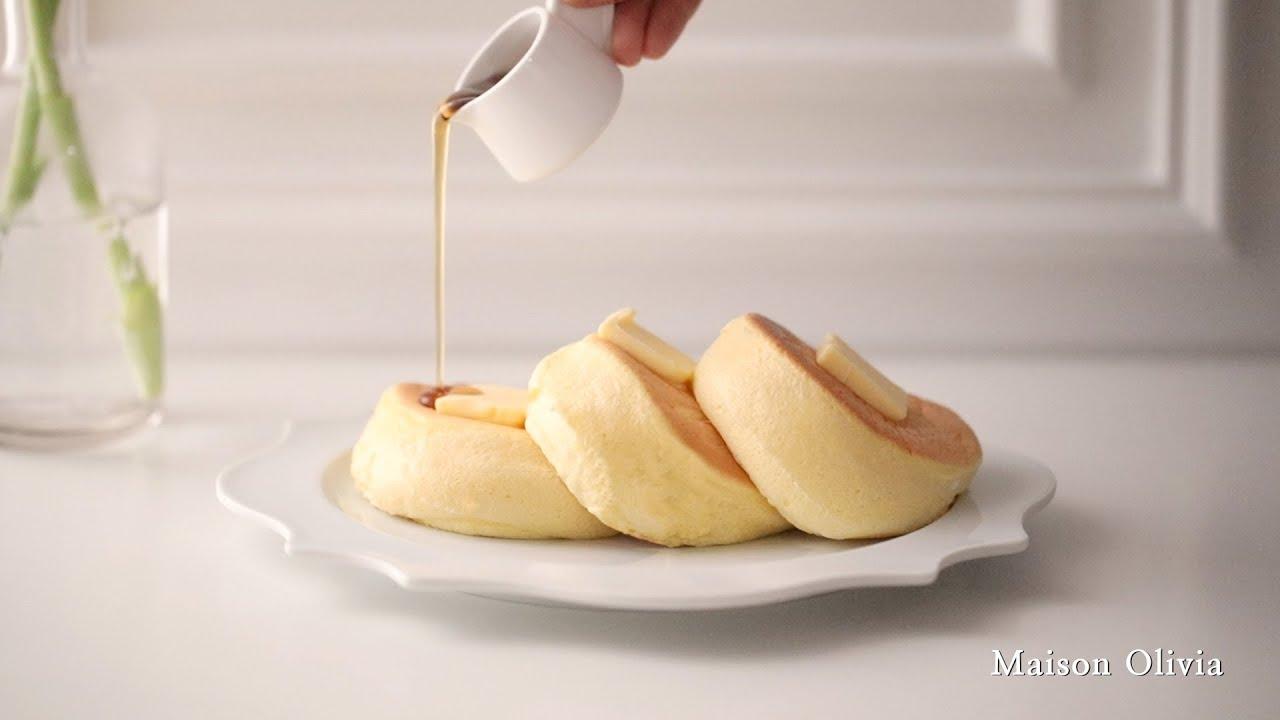 [종이컵계량]핸드믹서 없이 만드는 2100원 수플레 팬케이크 (Soufflé pancake made of 2$, 4000번 젓기 챌린지!)