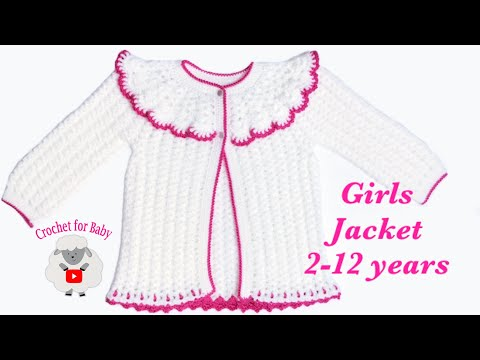 Easy Crochet Toddler Girls Pinafore Cardigan Jacket | Crochet Coat | 3-4 Years Crochet For Baby 204