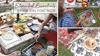 5 Stenciled Essentials You'll Need For The Perfect Boho Picnic!