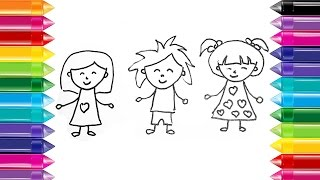 Draw color kids How to Draw and Paint Children draw color YouTube