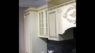 """Кухня модульная """"Маэстро"""" (МДФ/Патина/Позолота/Лак)(Крем глянец)"""
