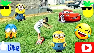 Outdoors Activities For Kids Minions & Lightning McQueen Car Outdoors Games kids Funny Sibling Video