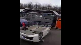 Accident Luxury Car Carrier Trailers Ferrari And Lamborgini/ accident  porte voiture luxe