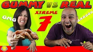 GOMINOLAS vs COMIDA REAL CHALLENGE EXTREMO 7| Real Food VS Gummy XTREME 7