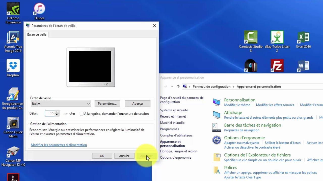 comment modifier son  u00e9cran de veille sous windows 10