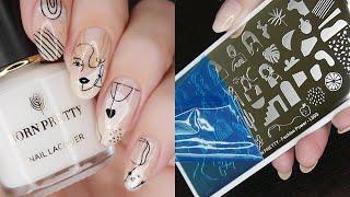 Абстрактный маникюр многослойный стемпинг Нюдовые ногти обычный лак