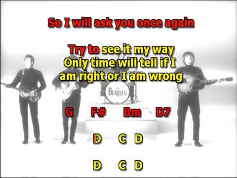 We can work it out Beatles best karaoke instrumental lyrics chords