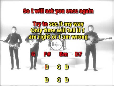 We can work it out Beatles best karaoke instrumental lyrics chords