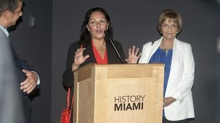 Carmen Valdivia (Chairperson of OPPG Historic Committee) - Exhibition of Operation Pedro Pan