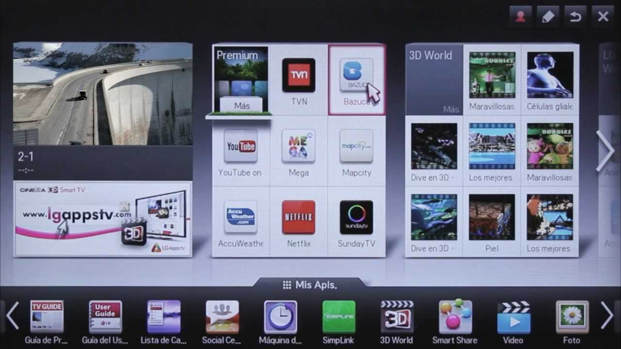 LG SMART TV CINEMA SCREEN: CONTENIDOS PREMIUM - YouTube