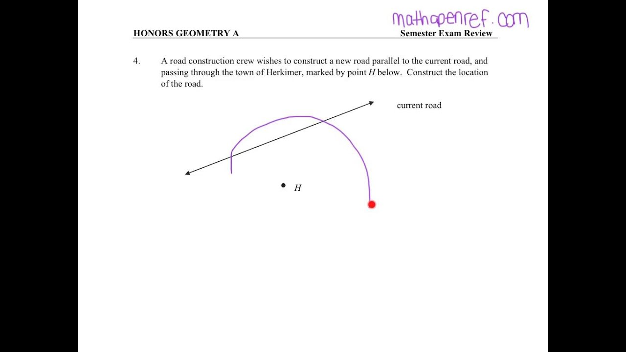 Honors Geometry Exam Review - Unit 1 Topic 1 (2015-2016)