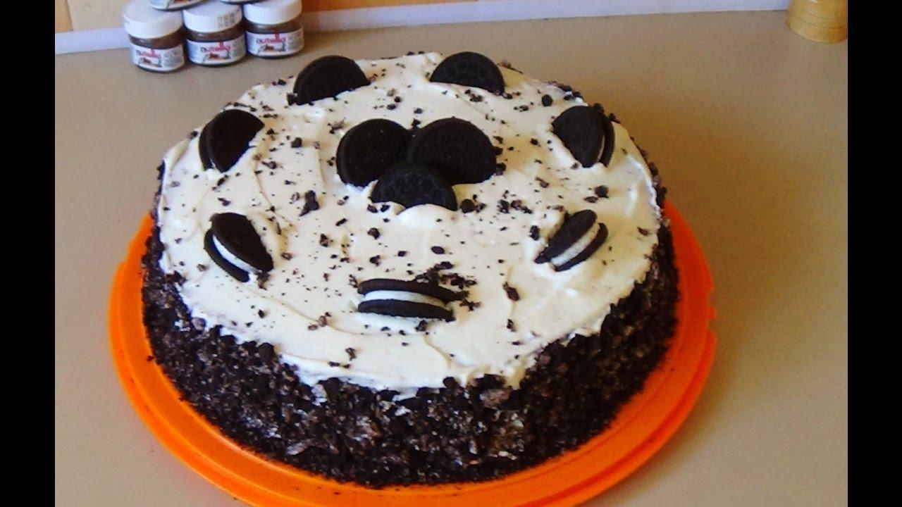 Αποτέλεσμα εικόνας για Τούρτα κούκις με μπισκότα oreo / εύκολη τούρτα cookies