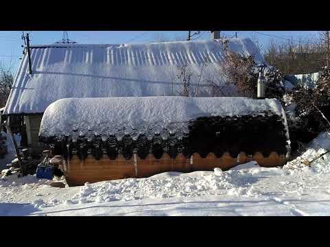 Баня-бочка зимой после 4 лет использования. Обзор и отзыв владельца бани бочки.