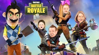 FORTNITE IN REAL LIFE vs HELLO NEIGHBOR in Real Life in Huge Box Fort! Juggernaut Nerf Battle!