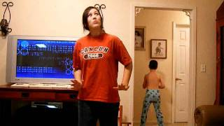 Smack that- ORIGINAL! (Little brother video bombs sister)