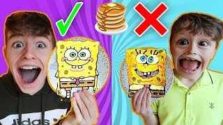 PANCAKE ART CHALLENGE with LITTLE BROTHER!!! Learn How To Make Emojis Out of DIY Pancake! 🥞