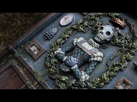 Sculpting Time-Lapse Haunted House using Polymer Clay & Wood Diorama