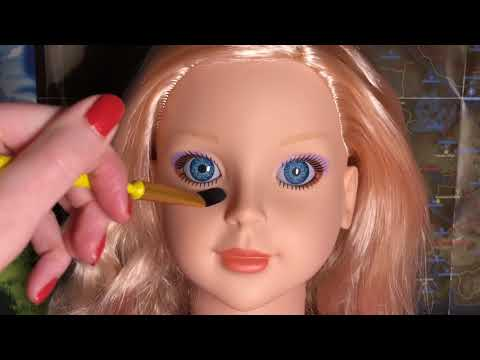 ASMR Doll Face Brushing, Tracing and Whispering