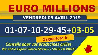 EUROMILLIONS NUMEROS GAGNANTS TIRAGE VENDREDI 5 AVRIL 2019