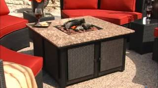 Meridian All Weather Wicker Conversation Set With Granite Fire Pit - Product Review Video