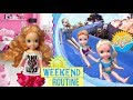 Anna and Elsa Weekend Routine #2 School's Over! Family Get Ready for the Waterpark - Toddlers - Toys