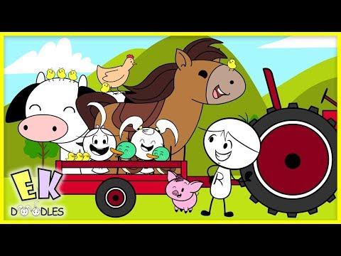 Old MacDonald Nursery Rhyme Learn Animals with EK Doodles ! Educational Video