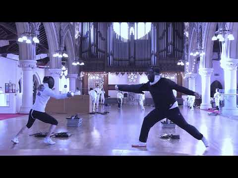 Fencing lesson; Julianna Revesz and Wang Lei