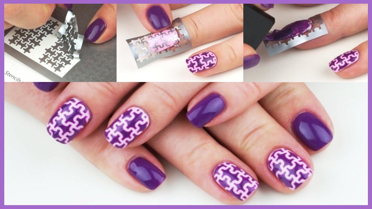 Nail art tutorial big puzzle nail design unail stencil youtube solutioingenieria Choice Image
