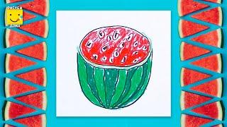 Как нарисовать арбузик - урок рисования для детей от 4 лет, рисуем дома поэтапно, пастель