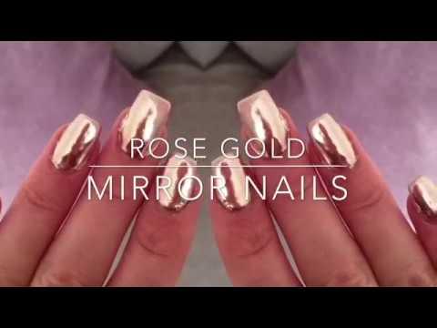 Nail Tutorial Rose Gold Mirror Nails Youtube
