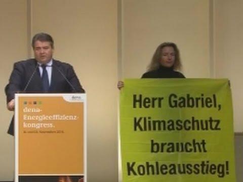 Greenpeace stört Rede von Sigmar Gabriel - Gabriel stört zurück (dena-Kongress)