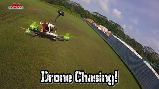 Racing drones chase! Trying to follow close to the leader