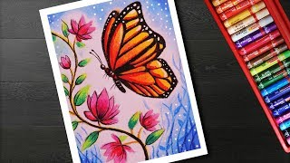 How to draw Easy Butterfly and Flower Scenery drawing and painting